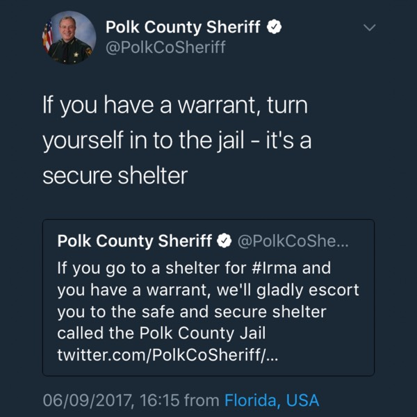 Polk Sheriff tweet